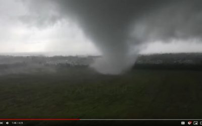 Close-up drone footage of tornado near Houston, TX