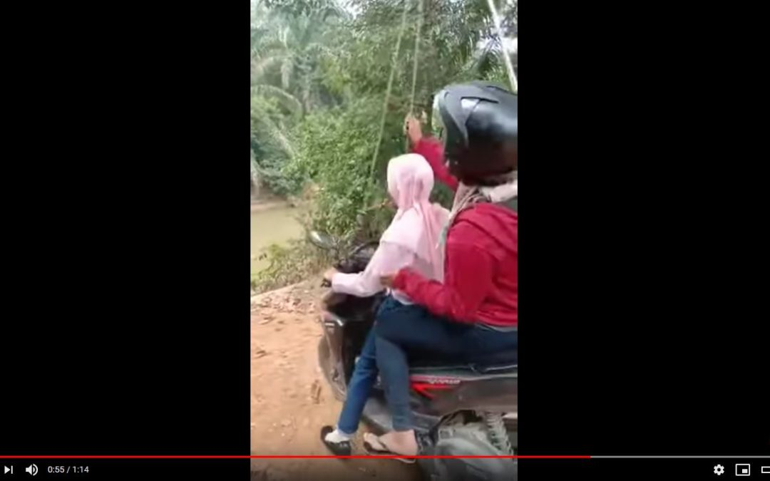 Crossing river on moped with no bridge