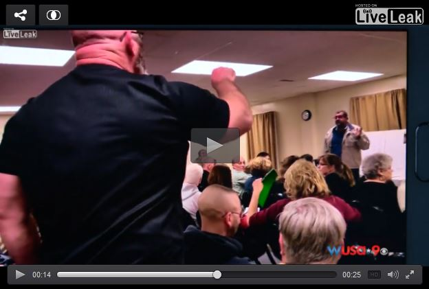 "Dumb racist calls all Muslims ""terrorists"" at town meeting"