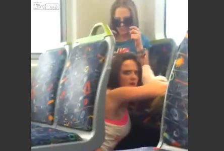 Lesbian eating pussy on a train