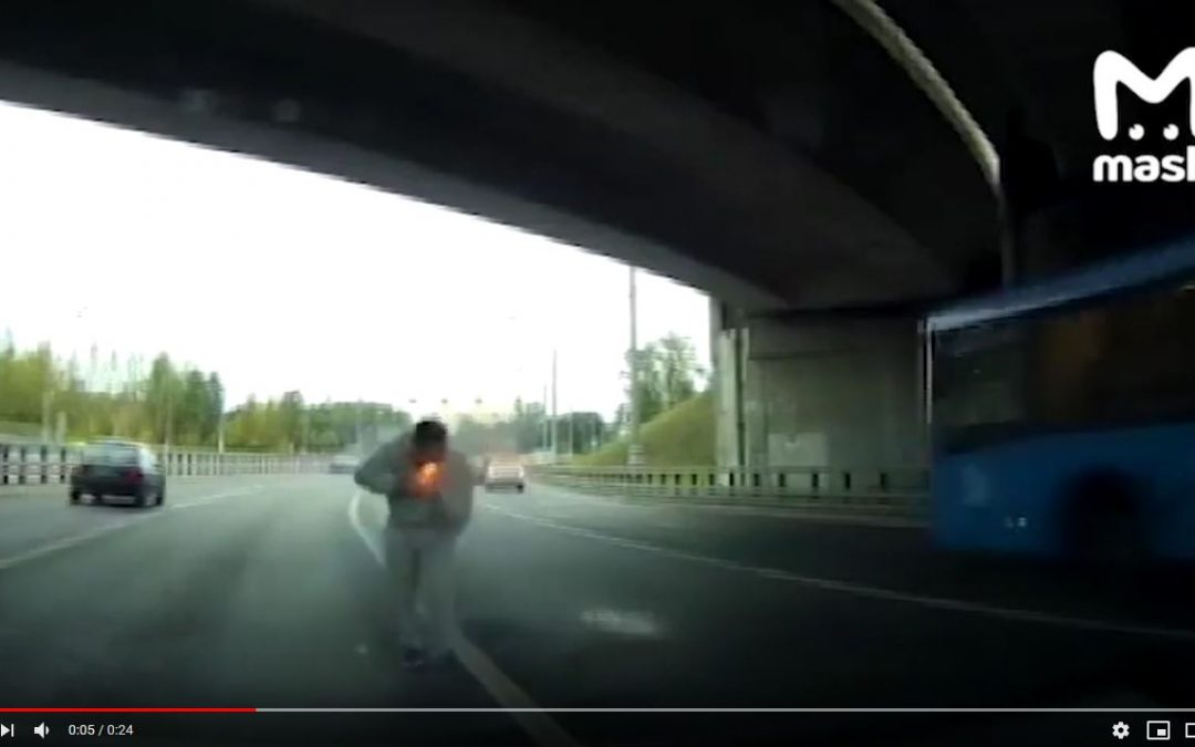Road rage bully shot in neck with flare gun