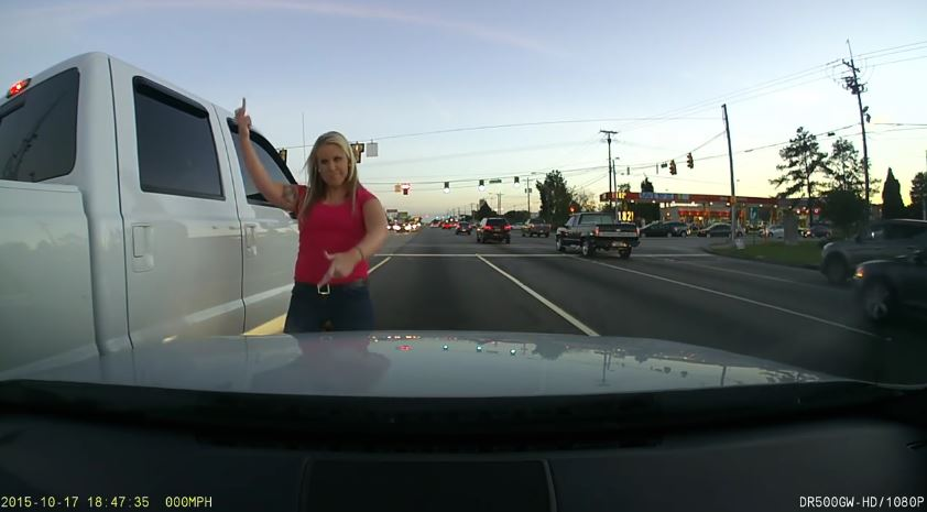 Truck hits car, girl gets out and acts all ragey
