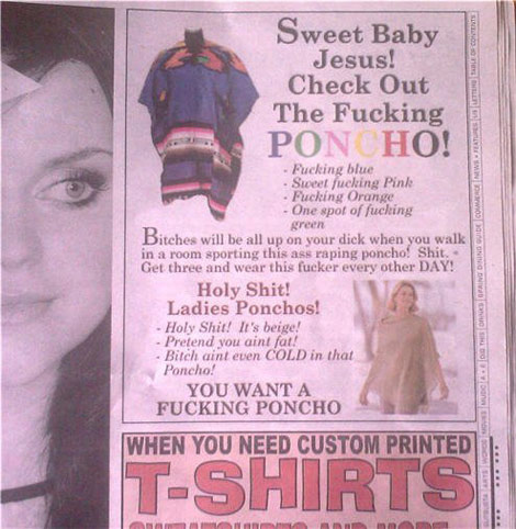 Funny Poncho Advertisement