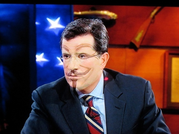 Stephen Colbert in Guy Fawkes mask