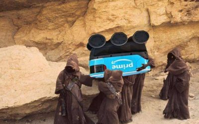 Jawas steal Amazon Prime delivery bot
