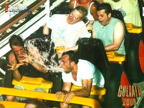 Dude puking on rollercoaster