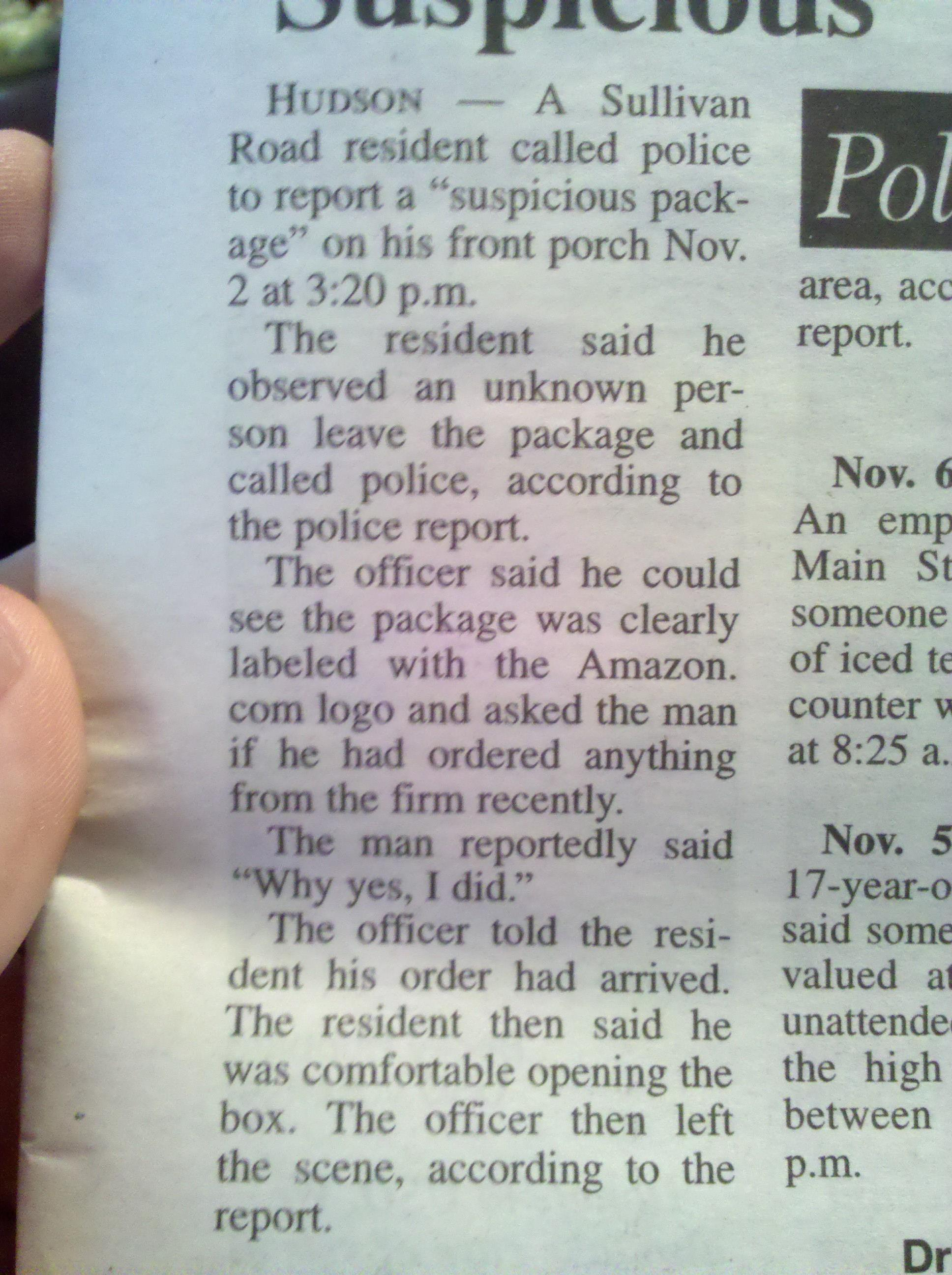 Unknown man leaves suspicious package