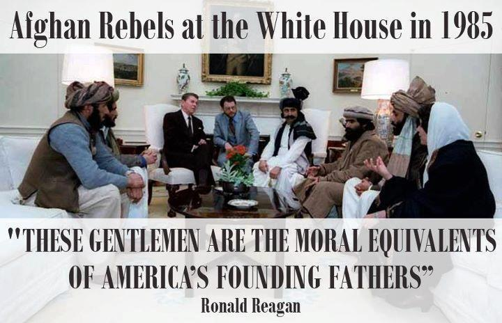Afghan rebels in the White House with Reagan in 1985