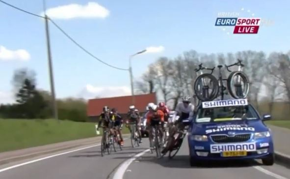 Multiple accidents caused by cars during Tour of Flanders bike race