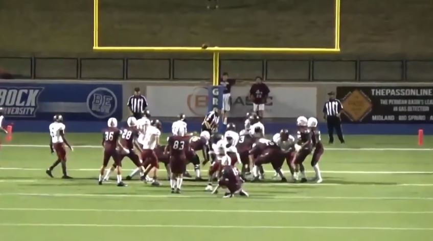 High school football player kicks field goal off referee's head